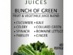 Healthy Choice Juices – Bunch of Green – Cucumber, Celery, Spinach, Parsley, Kale, Collard Green, Romain, Ginger Juice- 6 Bottles